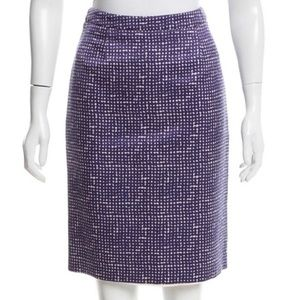 Tory Burch Purple Print Pencil Skirt